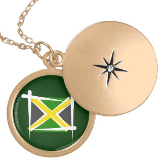 Jamaica Brush Flag Gold Plated Necklace