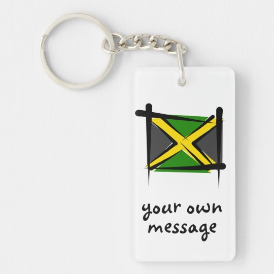 Jamaica Brush Flag Keychain