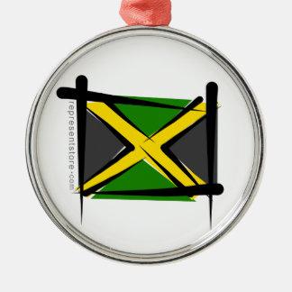 Jamaica Brush Flag Metal Ornament