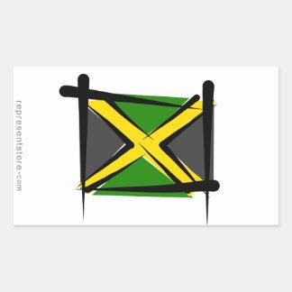 Jamaica Brush Flag Rectangular Stickers