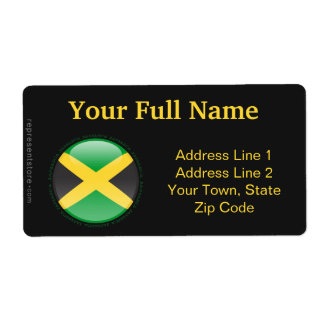 Jamaica Bubble Flag Shipping Label