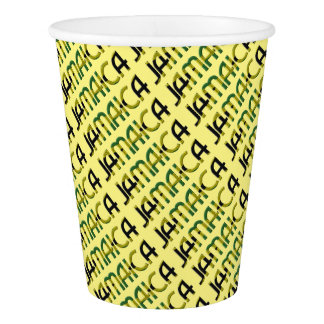 Jamaica Country Flag Colors Typography Holiday Paper Cup