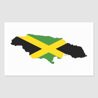 jamaica country flag map rectangular sticker