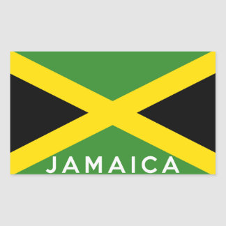 jamaica country flag text name rectangular sticker