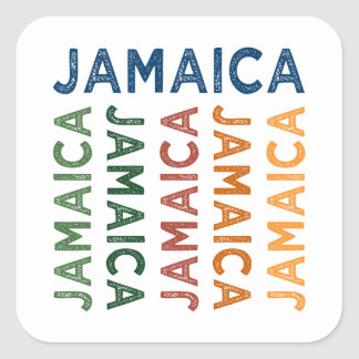 Jamaica Cute Colorful Square Stickers
