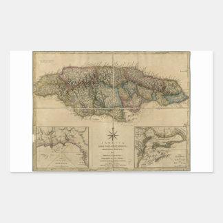 Jamaica del último mapa de las encuestas (1775) pegatina rectangular
