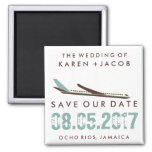 Jamaica Destination Wedding Save the Date 2 Inch Square Magnet
