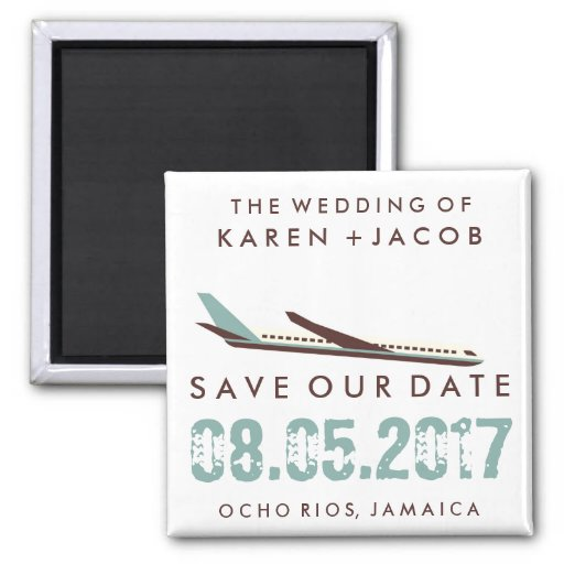 Jamaica Destination Wedding Save The Date 2 Inch Square Magnet Zazzle