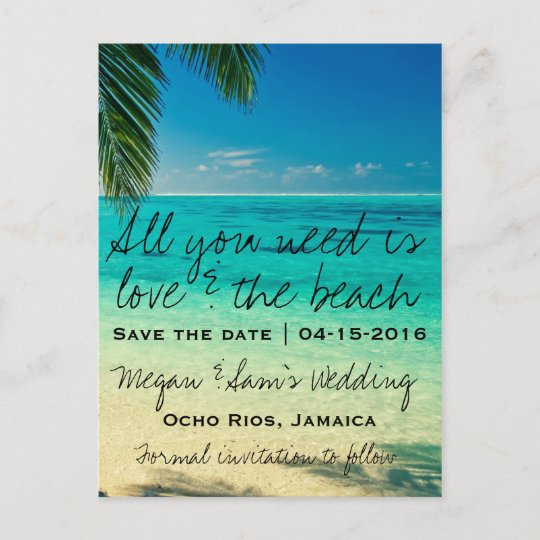 Jamaica Destination Wedding Save The Date Announcement Postcard