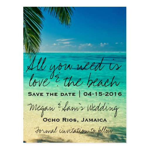 jamaica destination wedding save the date postcard zazzle