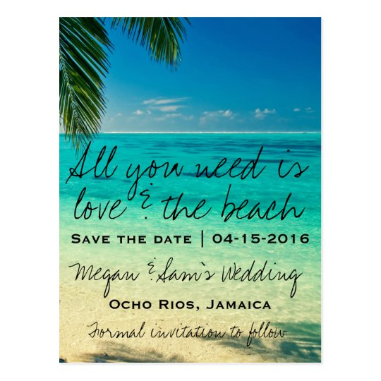 Jamaica Destination Wedding Save The Date Postcard