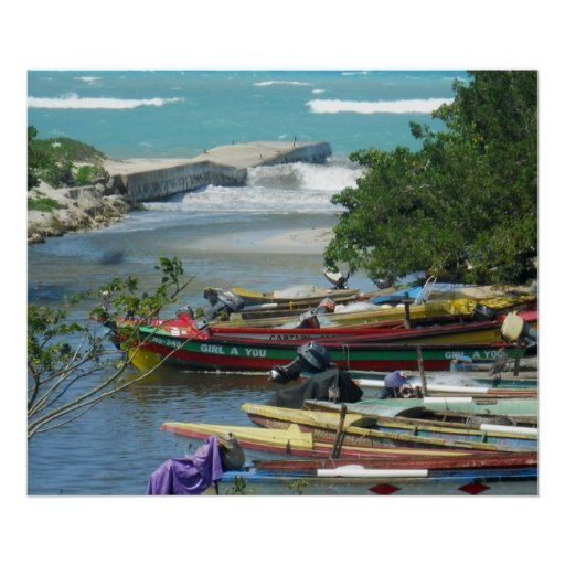 Jamaica fishing boats negril river photograph poster zazzle for Jamaica fishing charters