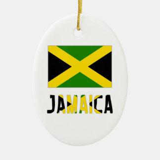 Jamaica  Flag and Word Ceramic Ornament