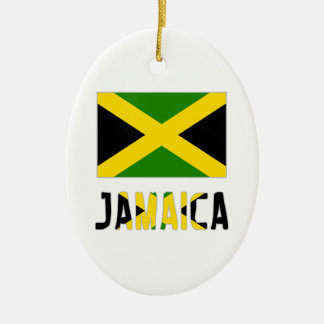 Jamaica  Flag and Word Ornament