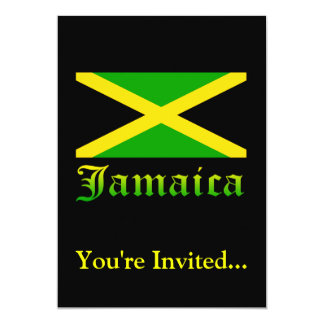 Jamaica Flag, Black, Green and Yellow 5x7 Paper Invitation Card