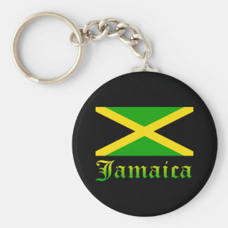 Jamaica Flag, Black, Green and Yellow Basic Round Button Keychain