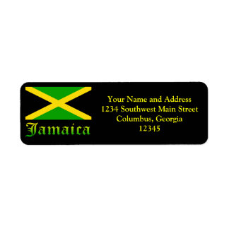 Jamaica Flag, Black, Green and Yellow Return Address Label