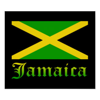 Jamaica Flag, Black, Green and Yellow Poster