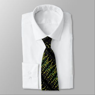 Jamaica Flag Colors Typography Pattern Neck Tie
