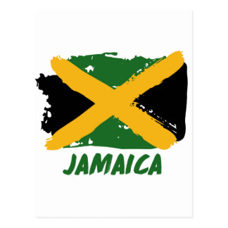 Jamaica flag design postcard