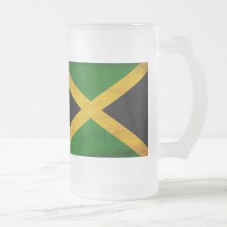 Jamaica Flag Frosted Glass Beer Mug