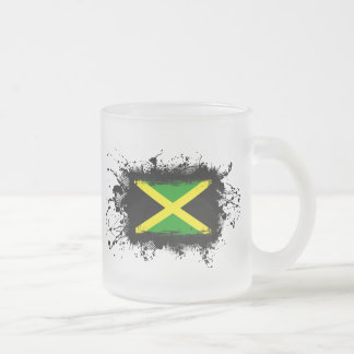 Jamaica Flag Frosted Glass Coffee Mug