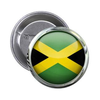 Jamaica Flag Glass Ball Pinback Button