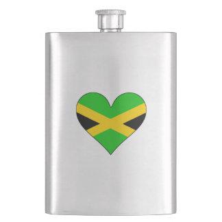 Jamaica Flag Heart Hip Flask