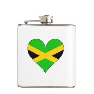 Jamaica Flag Heart Hip Flasks