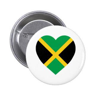 Jamaica Flag Heart Pinback Button