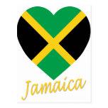 Jamaica Flag Heart Post Cards