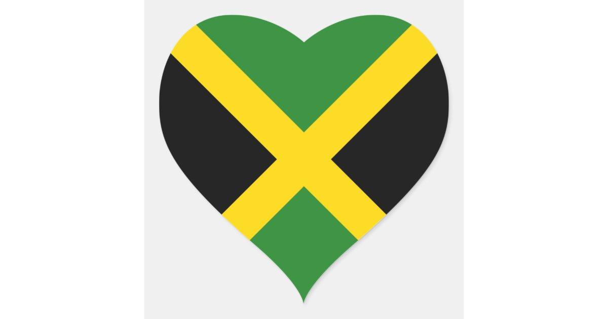 Jamaica flag heart sticker zazzle com