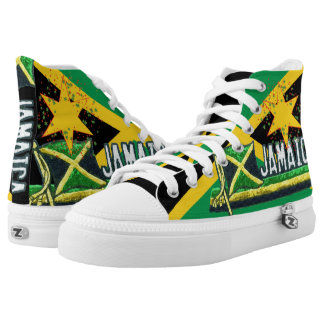 Jamaica Flag Hi Top Lace up Sneakers Printed Shoes