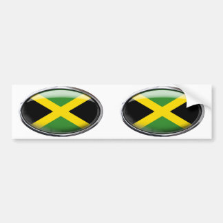 Jamaica Flag in Glass Oval Bumper Sticker