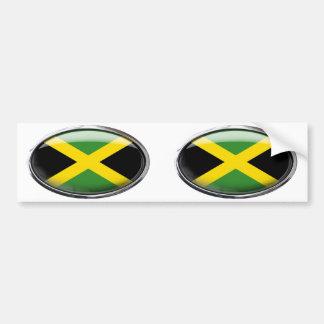 Jamaica Flag in Glass Oval Car Bumper Sticker