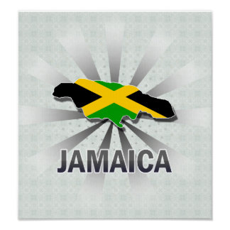 Jamaica Flag Map 2.0 Poster