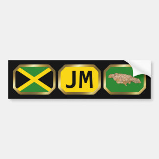 Jamaica Flag Map Code Bumper Sticker