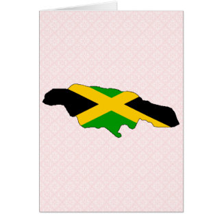 Jamaica Flag Map full size Greeting Card