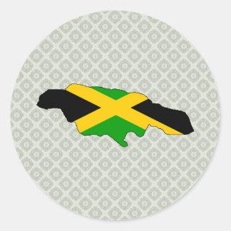 Jamaica Flag Map full size Classic Round Sticker