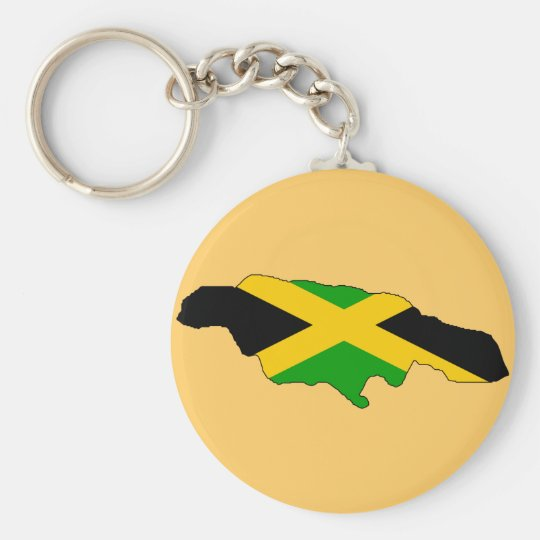 Jamaica flag map keychain