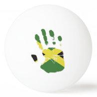 jamaica flag on hand ping pong ball