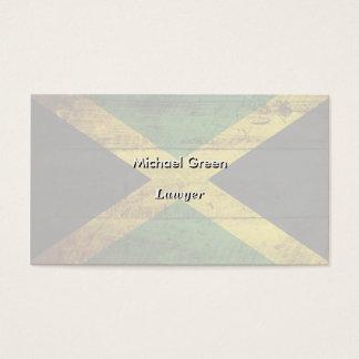Jamaica Flag on Old Wood Grain Business Card