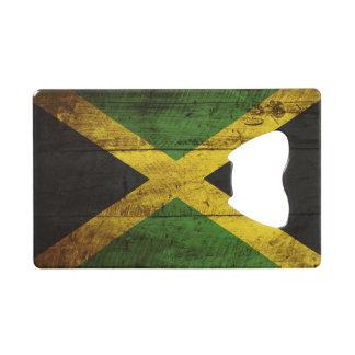 Jamaica Flag on Old Wood Grain Credit Card Bottle Opener