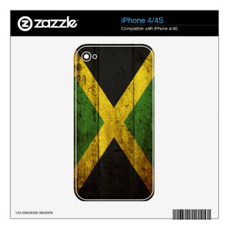 Jamaica Flag on Old Wood Grain Decals For iPhone 4