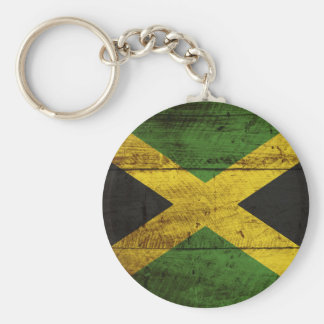 Jamaica Flag on Old Wood Grain Keychain
