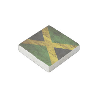 Jamaica Flag on Old Wood Grain Stone Magnet