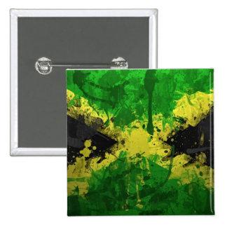 Jamaica flag paint pinback button