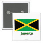 Jamaica Flag with Name 2 Inch Square Button