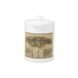 Jamaica from the latest Surveys Map (1775) Teapot
