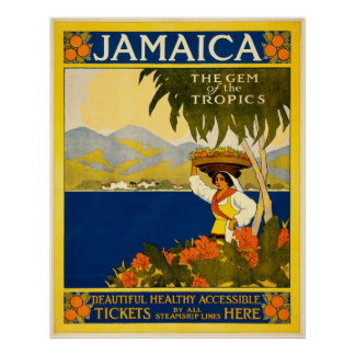 Jamaica Gem of The Tropics Vintage Travel Posters